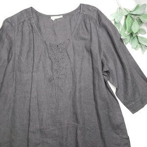 EILEEN FISHER | sz 2X irish linen split neck tunic